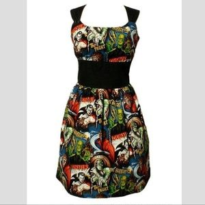 Monster Comic Book Swing Pinup Style Dress! NWOT L